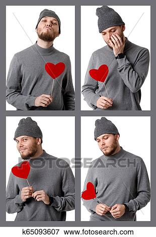 03d3902f36c Collage of portraits of young man in gray hat holding red paper heart  isolated on white background
