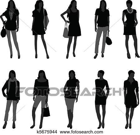 女, 女性, ファッション, 買い物, モデル クリップアート(切り張り)イラスト「絵画」集