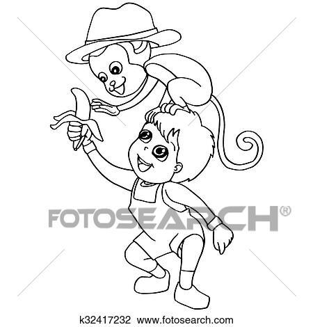 Clipart Ausmalbilder Kind Fuettern Affe K32417232 Suche Clip