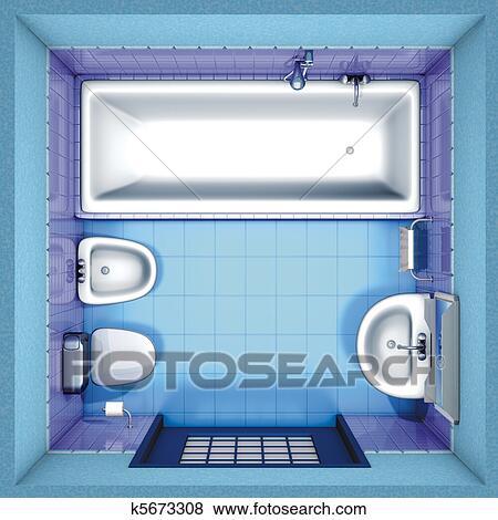 Rendering Bathroom Blue Top