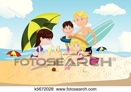 A Vector Illustration Of Family Spending Vacation Time On The Beach