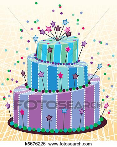Remarkable Big Birthday Cake Clip Art K5676226 Fotosearch Personalised Birthday Cards Veneteletsinfo