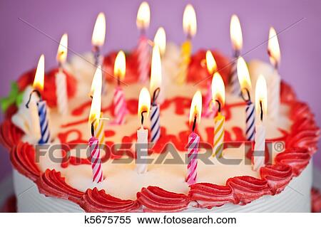 Birthday Cake With Candles.Birthday Cake With Lit Candles Paruosta Fotografija