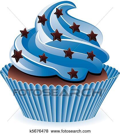 Clip Art Blau Cupcake K5676478 Suche Clipart Poster