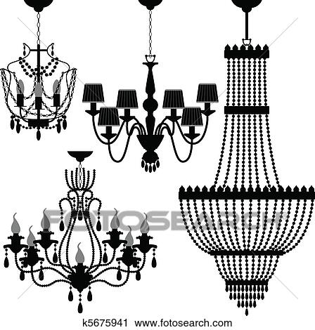Clipart of chandelier black silhouette k5675941 search clip art a set of light and chandelier aloadofball Choice Image