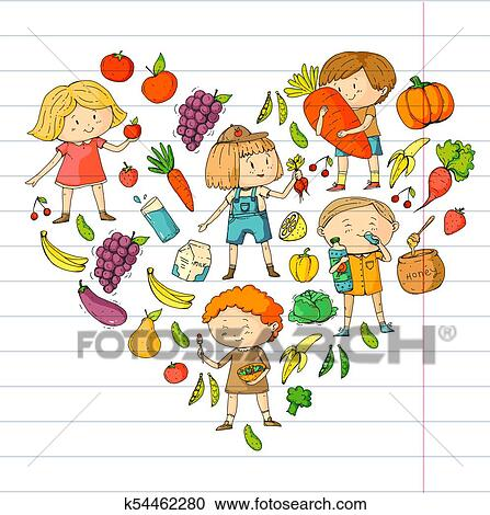 Children School And Kindergarten Healthy Food And Drinks Kids Cafe Fruits And Vegetables Boys And Girls Eat Healthy Food And Snacks Vector Doodle Preschool Pattern With Cartoons Kids Drawing Clipart K54462280