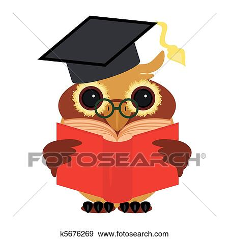 Clever Owl With Book On White Background K5676269 Foto Search Stock Images Photograph Royalty Free