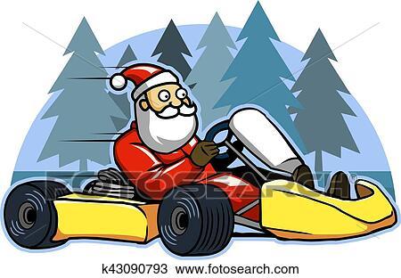 Clipart Course Jeûne Aller Karting Santa K43090793