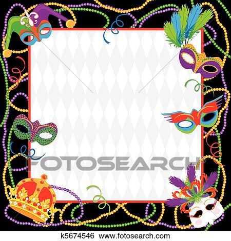 Clip Art Fasching Party Einladung K5674546 Suche Clipart