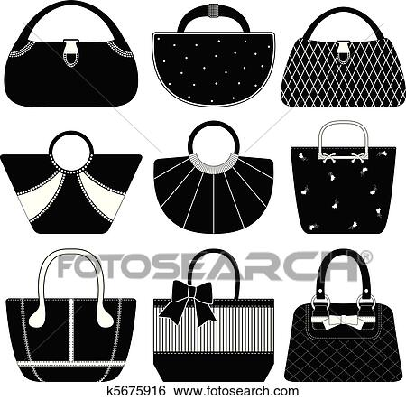 Femme, sac, sac main, bourse, femme Clipart