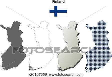 Finland blank outline map set Clip Art | k20107659 | Fotosearch