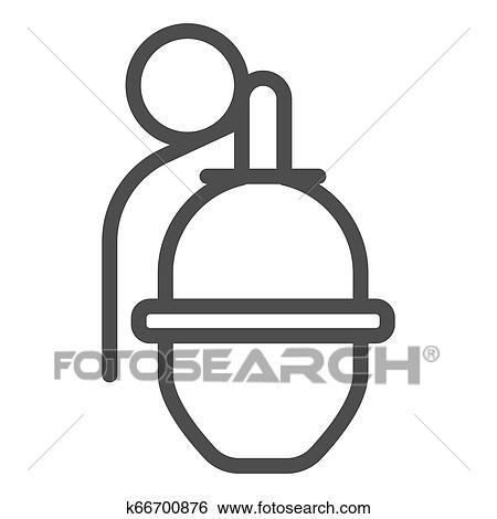 Granada Linha Icon Mao Bomba Vetorial Ilustracao Isolado
