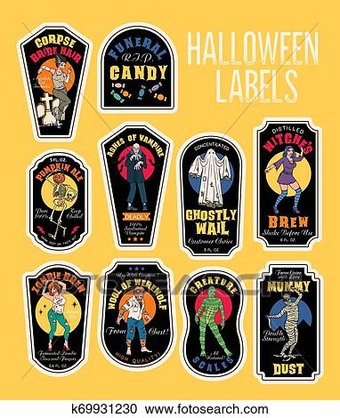 Halloween Bottle Labels Potion Labels With Monsters Clipart K69931230 Fotosearch