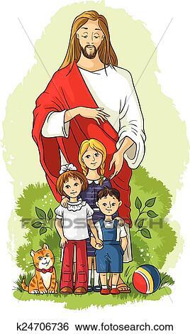 jesus with children clip art | k24706736 | fotosearch