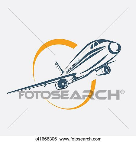 Banque d 39 illustrations avion symbole avion stylis vecteur ic ne k41666306 recherche de - Dessin avion stylise ...
