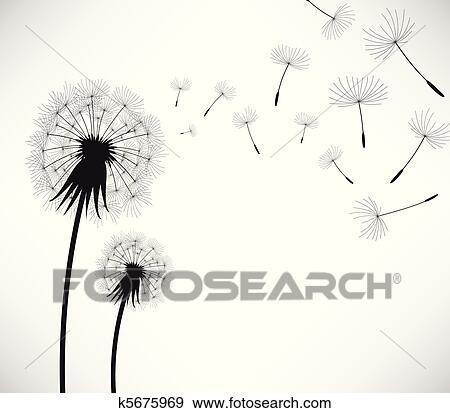 Clipart pissenlit vent coup fleur k5675969 - Dessin fleur pissenlit ...