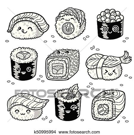 Kawaii Rolls And Sushi Manga Cartoon Set In Outline Clipart