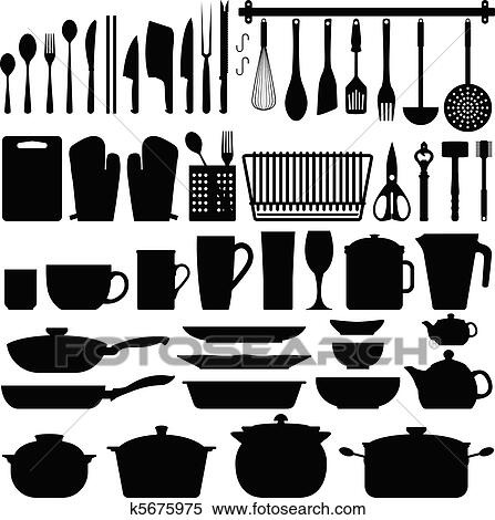 kitchen utensils vector. A Big Set Of Kitchen Equipment And Utensil In Silhouette. This Include Cutlery, Cooking Equipment, Plate, Pot, Many Others. Utensils Vector