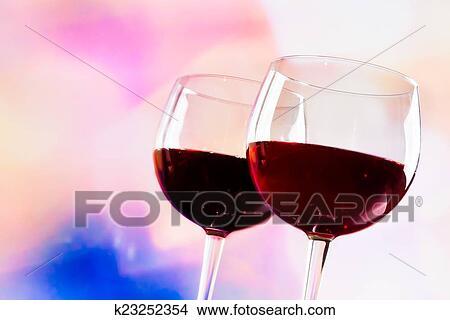 Lichte Rode Wijn : Stock foto rode wijn bril tegen kleurrijke unfocused