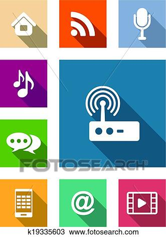 Set of flat media and communication icons Clipart