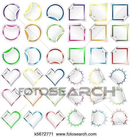 clipart stickers with colored borders with different shapes fotosearch search clip art