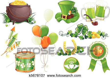 Clip Art Of Sttricks Day Symbols K5678107 Search Clipart
