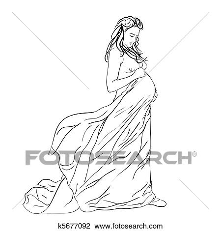 Clipart Of The Beautiful Pregnant Woman In A Long Dress K5677092