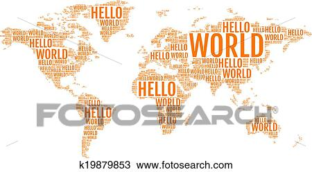 Clipart of typographic hello world map vector k19879853 search clipart typographic hello world map vector fotosearch search clip art illustration gumiabroncs Images