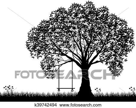 Vecteur Arbre Silhouette Fleurs Et Herbe Noir Blanc Vectorial Forme Clipart