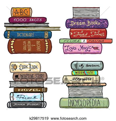 Clipart Vendange Main Dessine Livres Bibliotheque Vecteur