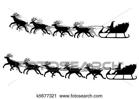 Clipart Weihnachtsmann Seine Schlitten Silhouette K5677321