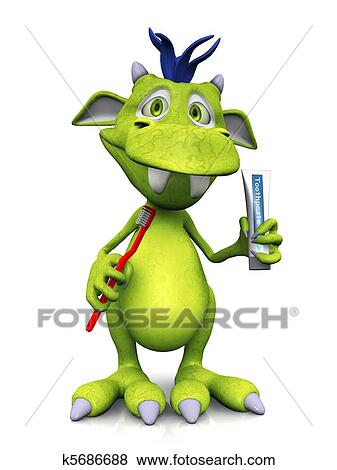 かわいい 漫画 モンスター 保有物 歯ブラシ そして Toothpaste