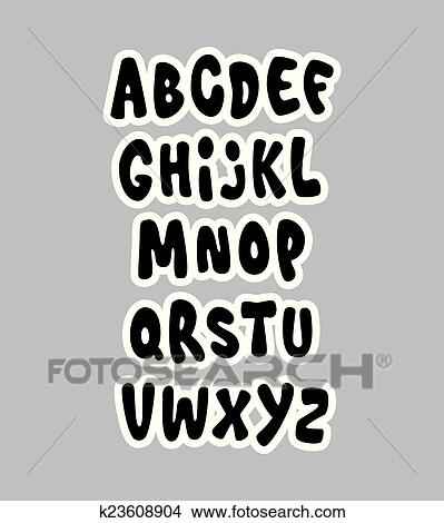Cartoon comic graffiti font alphabet  Vector Clipart