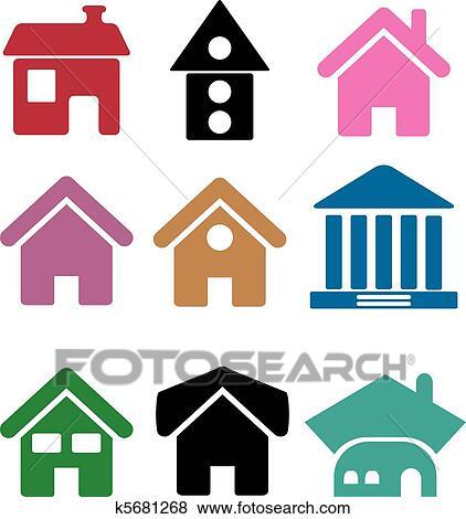 clipart coloridos simples casas k5681268 busca de clip art