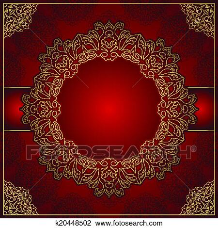 Elegant Royal Red Background With Gold Ornament
