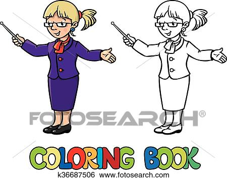 Clip Art of Funny teacher. Coloring book k36687506 - Search Clipart ...
