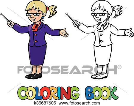 Funny teacher. Coloring book Clip Art | k36687506 | Fotosearch
