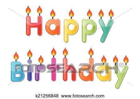 Clip Art Of Happy Birthday Candle K21256848