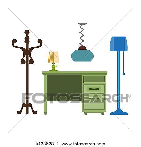 Mobilia, pezzi, soggiorno, lampada, gruccia, cassettiera, vettore,  appartamento, icone Clipart