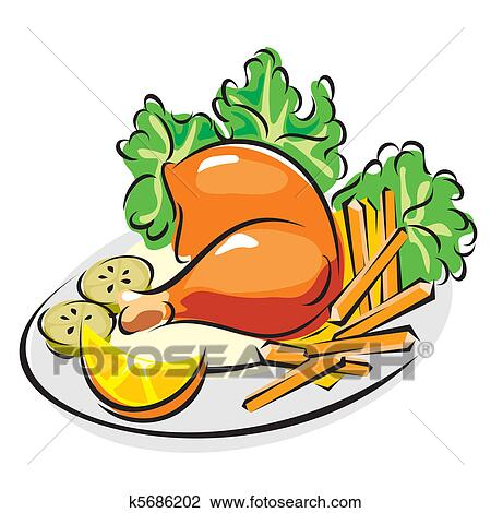 clipart of roast chicken leg k5686202 search clip art rh fotosearch com chicken leg quarters clipart chicken leg image clipart
