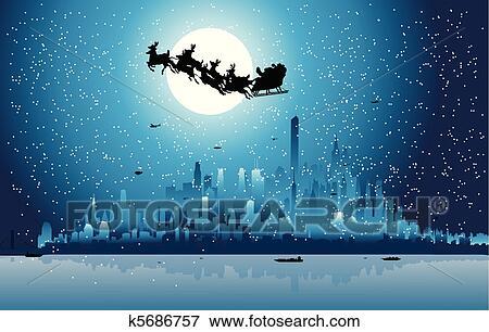 clip art of santa claus riding his sleigh over a city k5686757