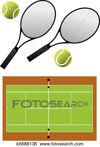 clip art of tennis racket and balls vector k5688136 search rh fotosearch com tennis court oath clipart tennis court clipart free
