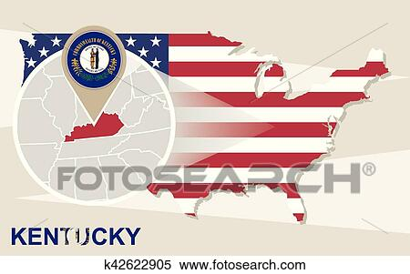 Clipart of USA map with magnified Kentucky State. Kentucky flag and ...