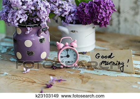 Stock Fotograf - zwei töne, lila, blumen, mit, guten morgen ...
