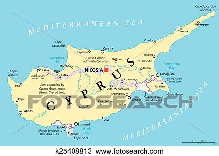 Zypern Politisch Landkarte Clipart K25408813 Fotosearch