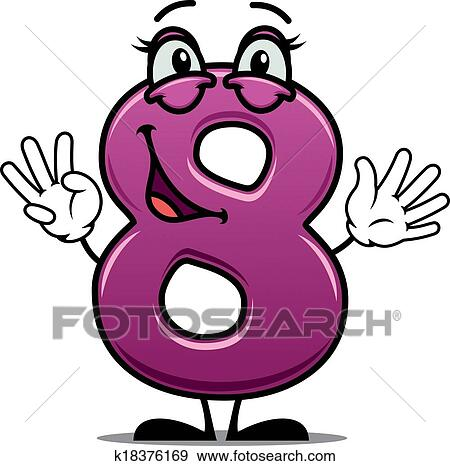 clip art of adorable happy number 8 k18376169 search clipart rh fotosearch com number 8 clipart black and white picture of number 8 clipart
