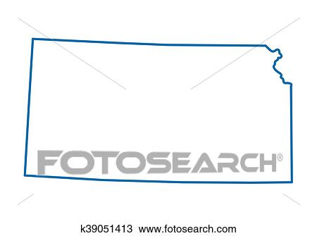 Clipart Of Blue Abstract Outline Of Kansas Map K39051413 Search