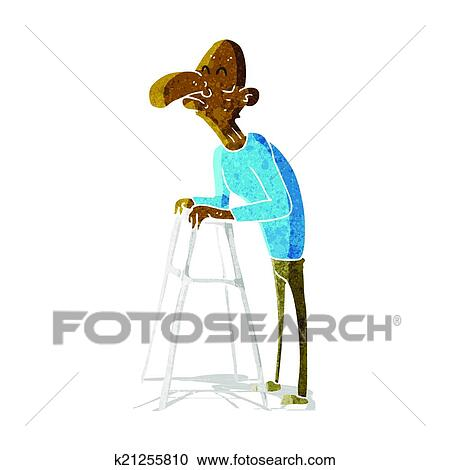 Clipart of cartoon old man with walking frame k21255810 - Search ...