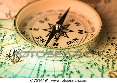 Stock Photography Of Compass On The World Map K47514491 Search