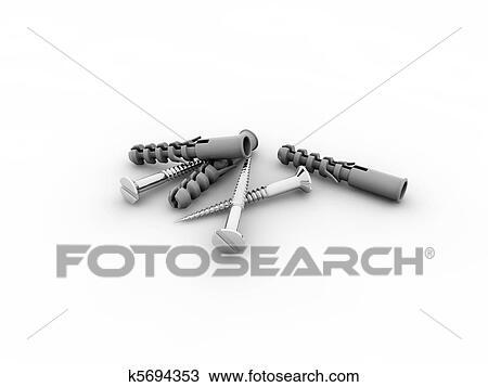Zeichnung Dubel Und Schrauben K5694353 Suche Clipart